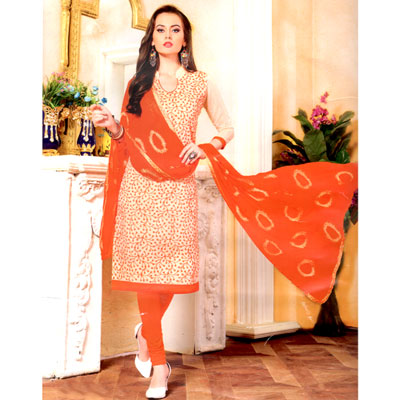 Click here for more on Cream and orange combination cotton Dress Material - SWS-14