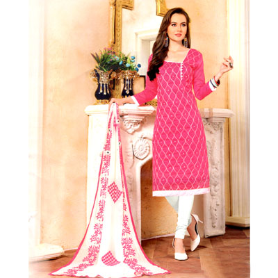 Click here for more on Pink and white combination cotton Dress Material - SWS-13