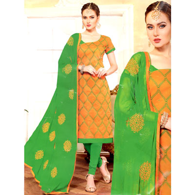 Click here for more on Mustard and Green combination cotton Dress Material - SWS-12
