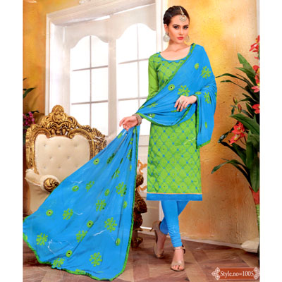 Click here for more on Aquagreen and Anandablue combination cotton Dress Material - SWS-11