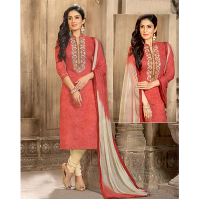 Click here for more on Red and halfwhite cotton Dress material - SWS-5