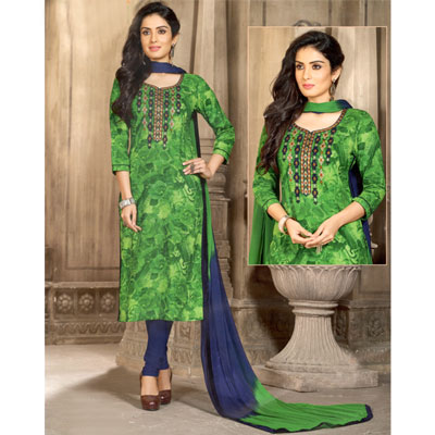 Click here for more on Green and navyblue combination cotton Dress material SWS-4