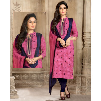 Click here for more on Pink and navyblue combination cotton Dress material SWS-3
