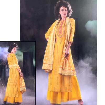 Click here for more on Yellow color Dress Material - NCB-10