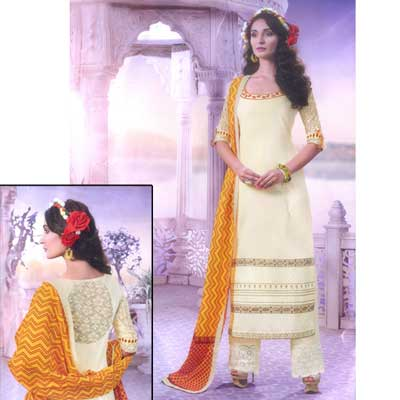 Click here for more on Cream color Dress Material - NCB-1