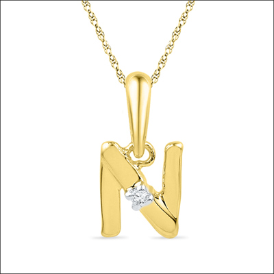 Click here for more on 18kt Alphabet N Diamond Pendent - PF015214