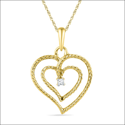 Click here for more on 18kt Heart In Heart Diamond Pendent - PH015247
