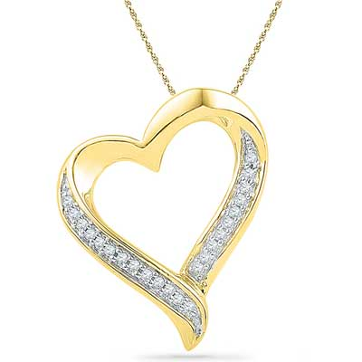 Click here for more on 18 Kt Gold Glitzy Heart Diamond Pendant - Ph016377