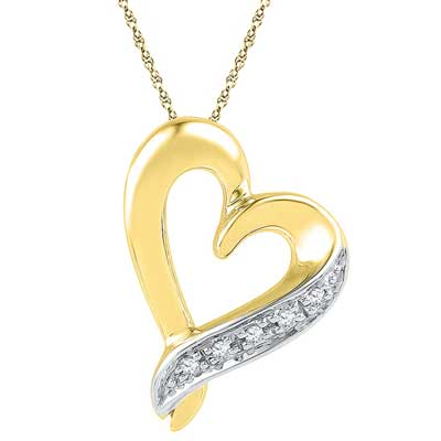Click here for more on 18 Kt Gold Adrorable Heart Diamond Pendant - Ph016545