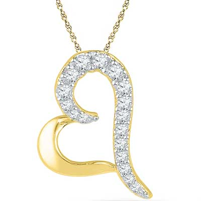 Click here for more on 18 Kt Gold Amazing Heart Diamond Pendant - Ph017012