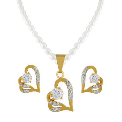 Click here for more on Cz Heart Pearl Pendant Set- jpjan-17-033