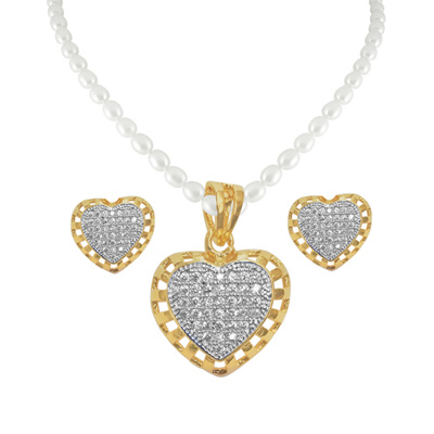 Click here for more on Sizzling Heart Pearl Pendant Set - jpjan-17-059