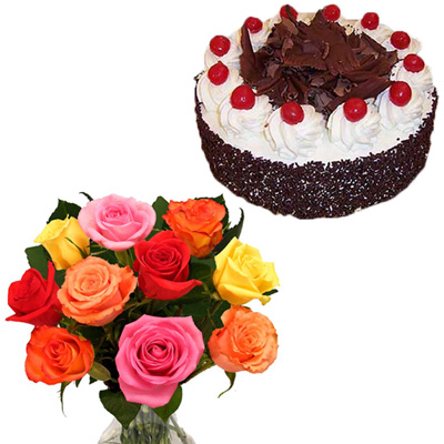 Click here for more on Chocolate cake - Half kg, 12 Mixed Roses flower bunch