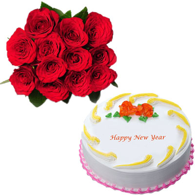 Click here for more on Round shape vanilla cake - half kg + 12 red roses flower bunch