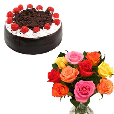 Click here for more on Round shape black forest cake - half kg + 12 mixed roses flower bunch