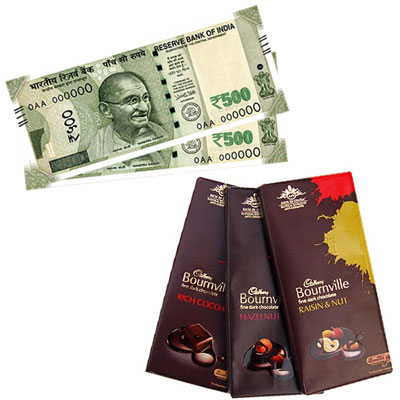 Click here for more on Cash Rs. 1001 , Cadburys Bourneville chocolate - 3 bars