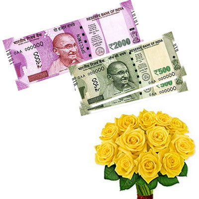 Click here for more on Cash - Rs. 3,001 with Yellow flowers