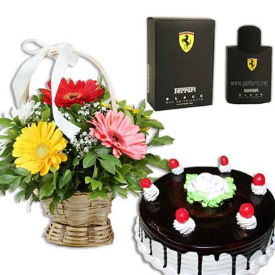 Click here for more on Ferrari Black - 125 ml EDT, Flower Basket, Chocolate Cake