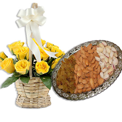 Click here for more on Badam 100gms, Pista 100 gms, Kismis 100 gms, 15 Yellow Roses Basket