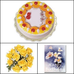 Cake n Flowers - Yellow Combo