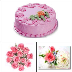 Click here for more on Cake n Flowers - Pink Combo