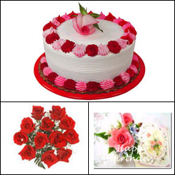Click here for more on Cake n Flowers - Red Combo