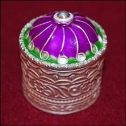 Click here for more on Enamel Design Pure Silver Kumkum Box SRI- 6