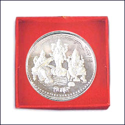 Click here for more on'Shri Ganesh,Lakshmi, Sarasvathi Silver Coin - p02073'
