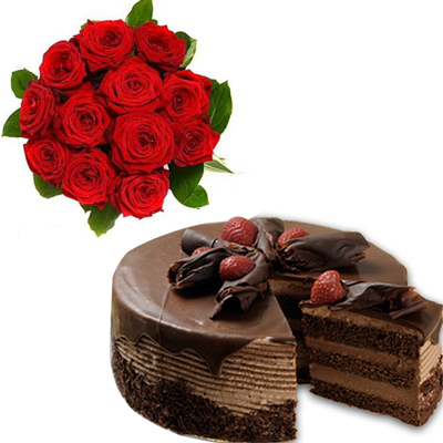 Click here for more on Blackforest cake half kg , 12 Red Roses Flower bunch