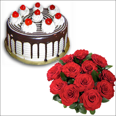 Click here for more on Chocolate cake half kg , 12 Red Roses Flower bunch