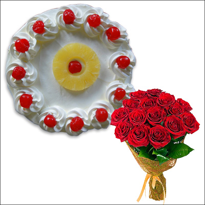 Click here for more on Pineapple cake half kg , 12 Red Roses Flower bunch
