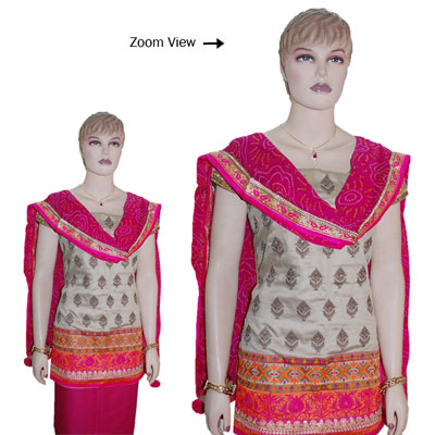 Click here for more on Contrast Cream and Pink color Designer Dress Material - JBT-24 (Express Delivery)