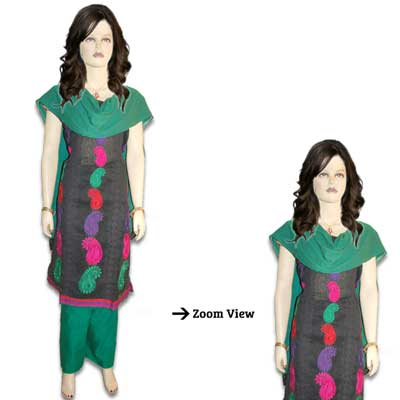 Black and Green Color Dress Material VFD-57(Express Delivery)