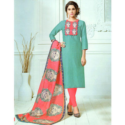 Click here for more on Aquagreen N pink combination kalamkari print Dress Material -SWS-17 (Express Delivery)