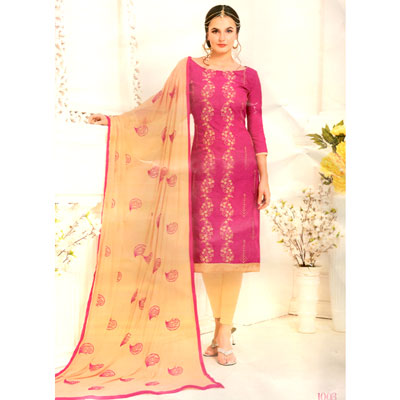 Click here for more on Contrast Pink with cream color cotton Dress Material - SWS-29 (Express Delivery)